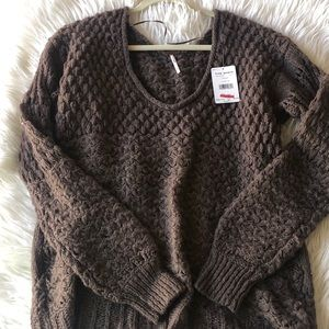 Free People Brown Scoop Neck Sweater NWT M